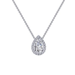 0.58 CTTW Platinum Simulated Diamond Classic Necklaces