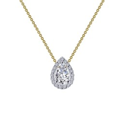 0.58 CTTW 2 Tone Simulated Diamond Classic Necklaces