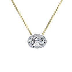 0.63 CTTW 2 Tone Simulated Diamond Classic Necklaces