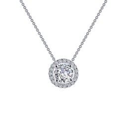 0.62 CTTW Platinum Simulated Diamond Classic Necklaces