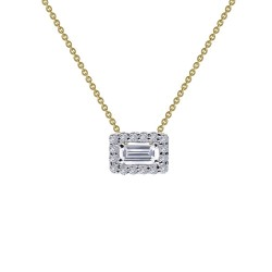 0.26 CTTW 2 Tone Simulated Diamond Classic Necklaces