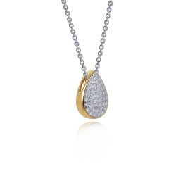 0.65 CTTW 2-Tone Simulated Diamond Classic Necklaces