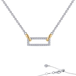 0.51 CTTW 2-Tone Simulated Diamond Classic Necklaces