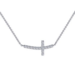 0.53 CTTW Platinum Simulated Diamond Classic Necklaces