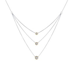 0.82 CTTW 2 Tone Simulated Diamond Classic Necklaces