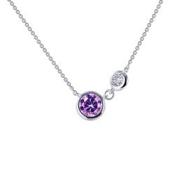 0.82 CTTW Platinum Amethyst Classic Necklaces