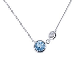 0.82 CTTW Platinum Aquamarine Classic Necklaces