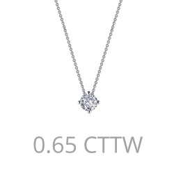 0.9 CTTW Platinum Simulated Diamond Classic Necklaces