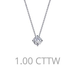 1.3 CTTW Platinum Simulated Diamond Classic Necklaces