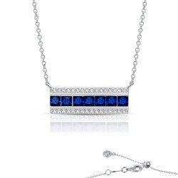 1.29 CTTW Platinum Simulated Diamond And Sapphire 7 Symbols Of Joy Necklaces