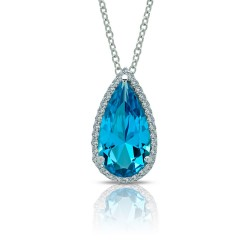 4.45 CTTW Platinum Paraiba Tourmaline Classic Necklaces