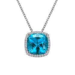 5.94 CTTW Platinum Paraiba Tourmaline Classic Necklaces