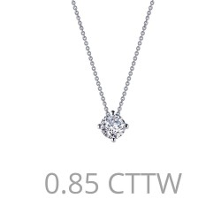 1.1 CTTW Platinum Simulated Diamond Classic Necklaces