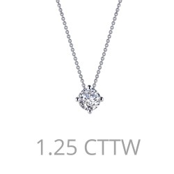1.5 CTTW Platinum Simulated Diamond Classic Necklaces