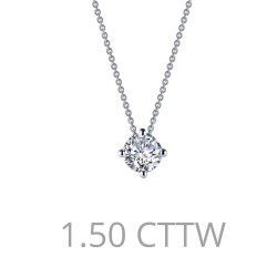 1.9 CTTW Platinum Simulated Diamond Classic Necklaces