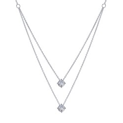 1.57 CTTW Platinum Simulated Diamond Classic Necklaces