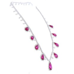18Kt White Gold Rubelite Gemstone Necklace