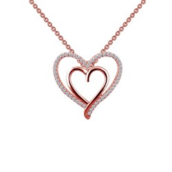0.49 Cttw Rose Gold Simulated Diamond Classic Necklaces