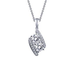 1.08 Cttw Platinum Simulated Diamond Classic Necklaces