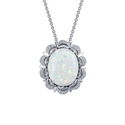 7.3 CTTW Platinum Opal Classic Necklaces