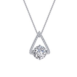 1.94 CTTW Platinum Simulated Diamond Classic Necklaces