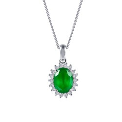 1.39 CTTW Platinum Emerald Classic Necklaces