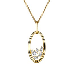0.99 CTTW 2 Tone Simulated Diamond Classic Necklaces