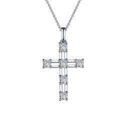 0.66 CTTW Platinum Simulated Diamond Classic Necklaces