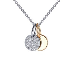 0.28 CTTW 2 Tone Simulated Diamond Classic Necklaces