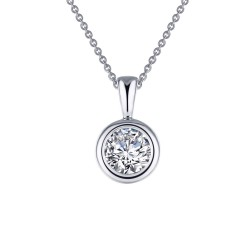 1 CTTW Platinum Simulated Diamond Classic Necklaces