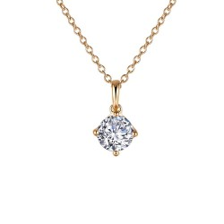 1 CTTW Gold Simulated Diamond Classic Necklaces