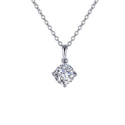 1 CTTW Platinum Simulated Diamond Classic Necklaces