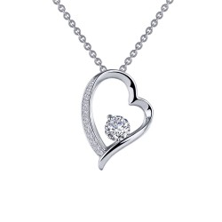 0.57 CTTW Platinum Simulated Diamond Classic Necklaces