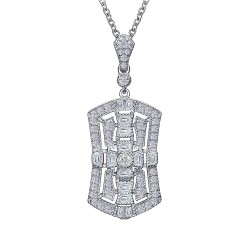 1.22 CTTW Platinum Simulated Diamond Heritage Necklaces