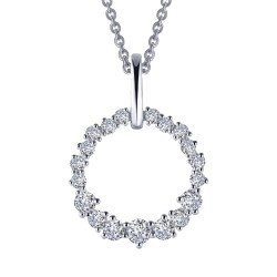 1.75 CTTW Platinum Simulated Diamond Classic Necklaces