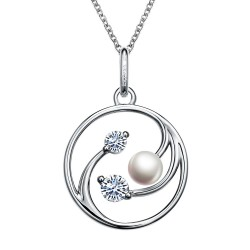 1.55 CTTW Platinum Freshwater Pearl Classic Necklaces