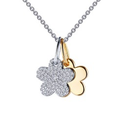 0.54 CTTW 2 Tone Simulated Diamond Classic Necklaces