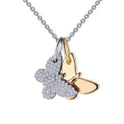 0.52 CTTW 2 Tone Simulated Diamond Classic Necklaces