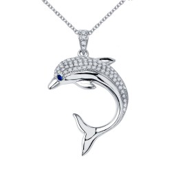 0.96 CTTW Platinum Sapphire Nautical Necklaces