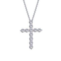 1.87 CTTW Platinum Simulated Diamond Classic Necklaces