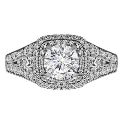 Cushion Cut Halo Diamond Vintage Semi Mount Engagement Ring