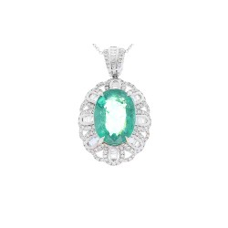 18Kt White Gold Emerald Gemstone Necklace