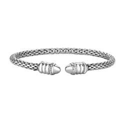 Silver with Rhodium Finish 3mm Popcorn Cuff Bangle with 0.14ct.Diamond On Cuff Ends