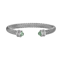 Silver with Rhodium Finish 6mm Popcorn Cuff Bangle with 0.14ct.Diamond Surrounding 2.1ct. 4mm Domed Faceted Semi-Precious Green Amethyst Cuff