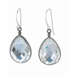 Sterling Silver Black Rhodium Finish 1-Teardrop Rock Crystal D Rop Earring.Organic Stone Collection.
