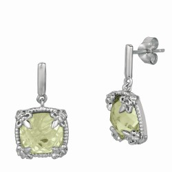 """Sterling Silver Green Amethyst White Sapphire Drop Earring. Phi Llip Gavriel Next Generation Of """"Rock Candy"""" Collection."""