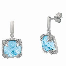 "Sterling Silver Sky Blue Topaz White Sapphire Drop Earring. Phi Llip Gavriel Next Generation Of ""Rock Candy"" Collection."