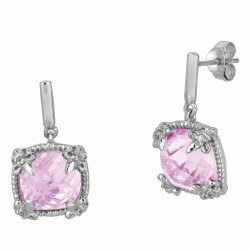 "Sterling Silver Pink Amethyst White Sapphire Drop Earring. Phil Lip Gavriel Next Generation Of ""Rock Candy"" Collection."