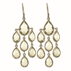 """Sterling Silver with Rhodium Finish Fancy Drop Earring with 14-Teardrop Shape G Reen Amethyst """" Stone Collection"""""""