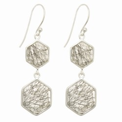 "Sterling Silver Rose Finish Shiny Octagon 2 Drop Earring with 2 Smokey-Checker S Tone "" Collection"""